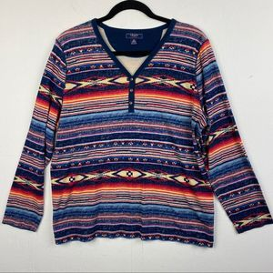 Chaps Long Sleeve Knit Henley Top
